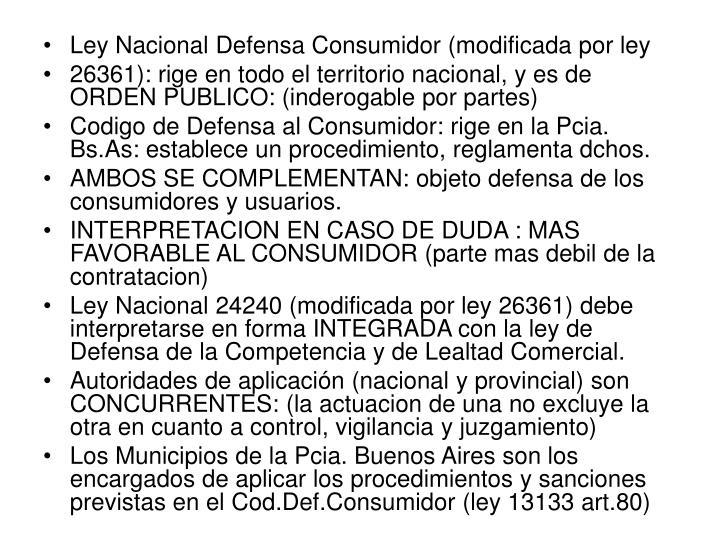 Ley Nacional Defensa Consumidor (modificada por ley