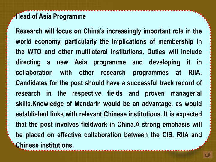 Head of Asia Programme