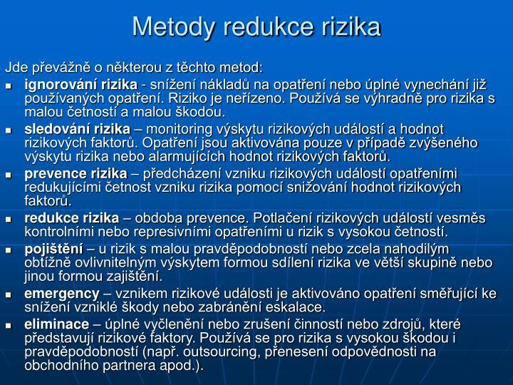 Metody redukce rizika