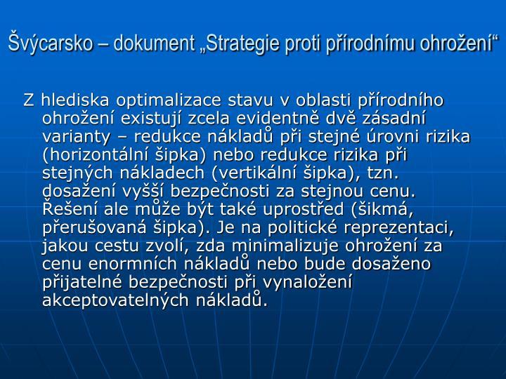 """Švýcarsko – dokument """"Strategie proti přírodnímu ohrožení"""""""