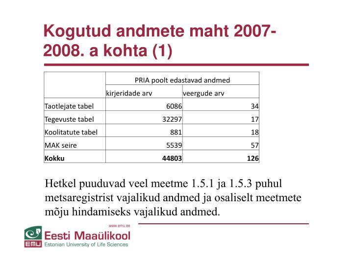 Kogutud andmete maht 2007-2008. a kohta (1)