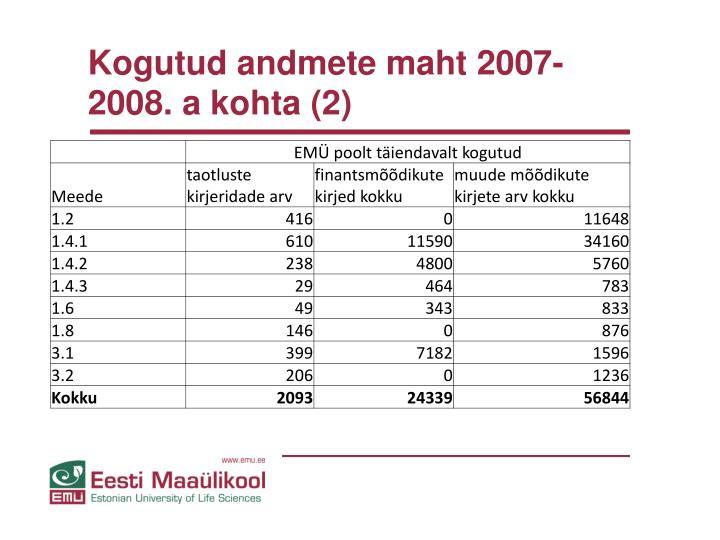 Kogutud andmete maht 2007-2008. a kohta (2)