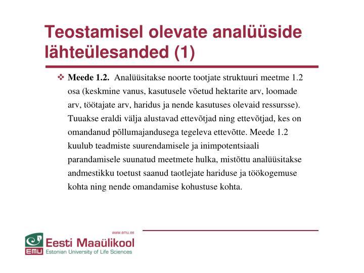 Teostamisel olevate analüüside lähteülesanded (1)