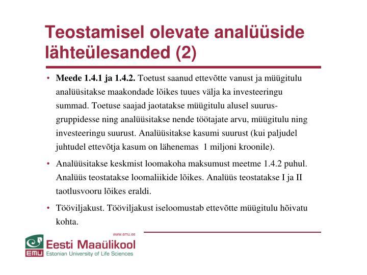 Teostamisel olevate analüüside lähteülesanded (2)