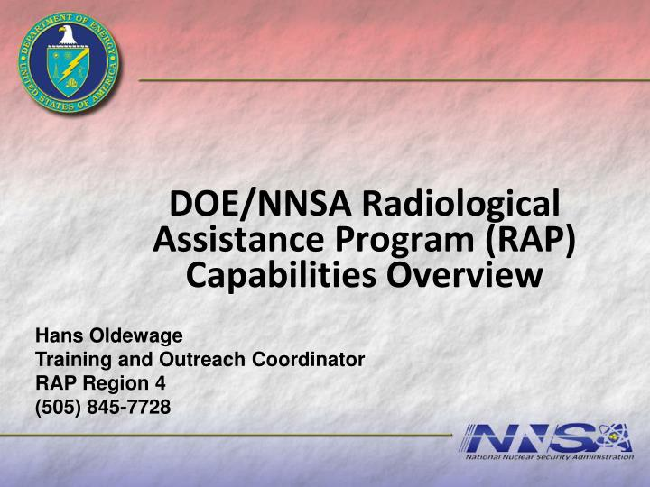 doe nnsa radiological assistance program rap capabilities overview