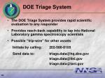 doe triage system