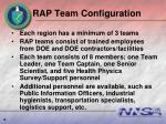 rap team configuration