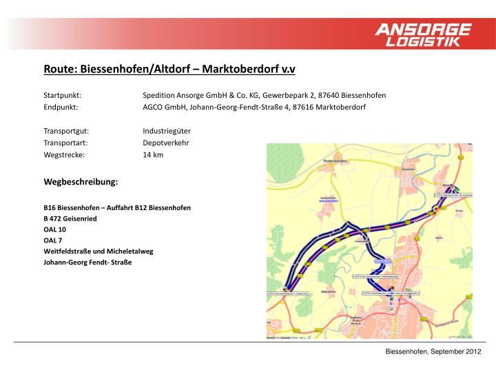 Route: Biessenhofen/Altdorf – Marktoberdorf