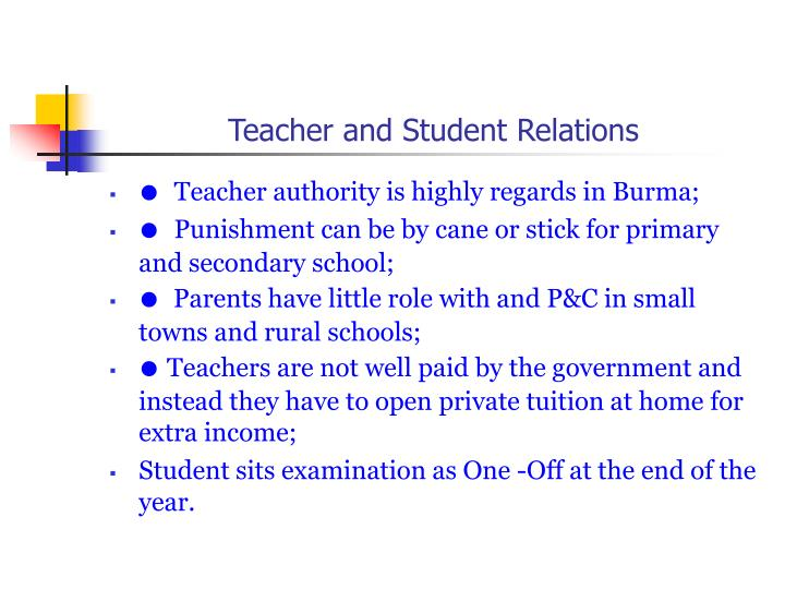 Teacher and Student Relations