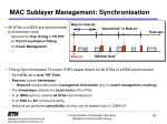 mac sublayer management synchronisation