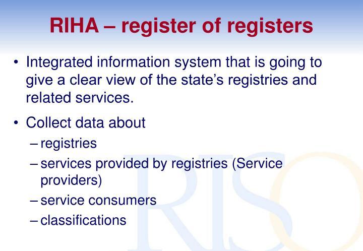 RIHA – register of registers