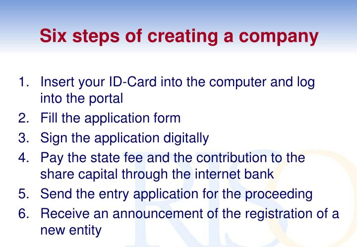 Six steps of creating a company