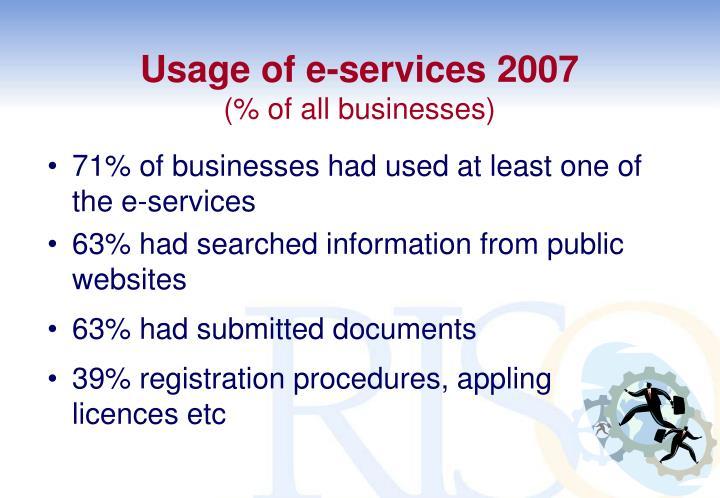 Usage of e-services 2007