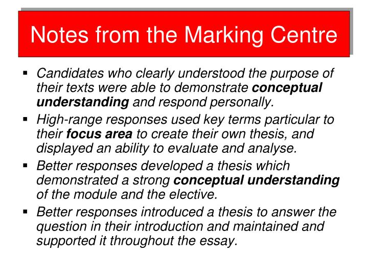 Notes from the Marking Centre