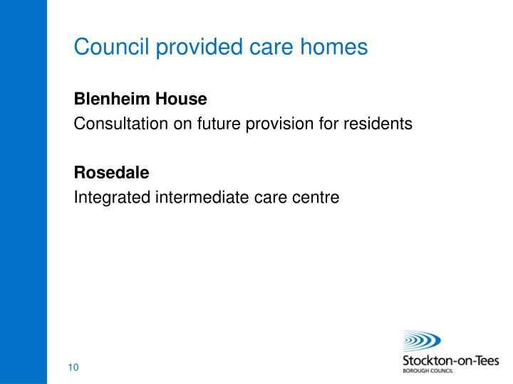 Council provided care homes