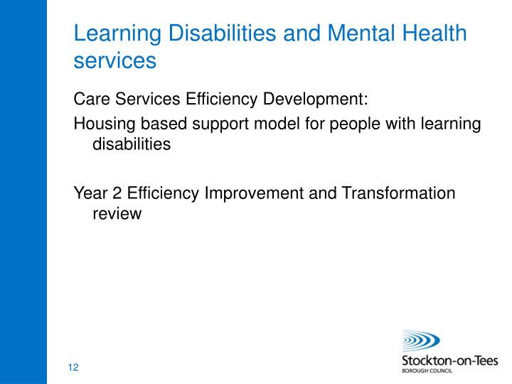 Learning Disabilities and Mental Health services