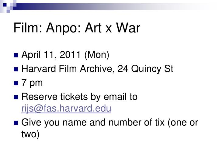 film anpo art x war