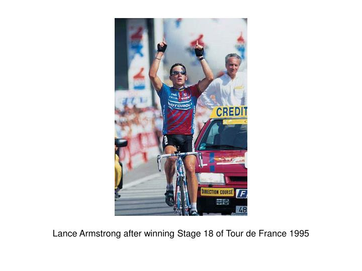 Lance Armstrong after winning Stage 18 of Tour de France 1995