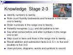 knowledge stage 2 3