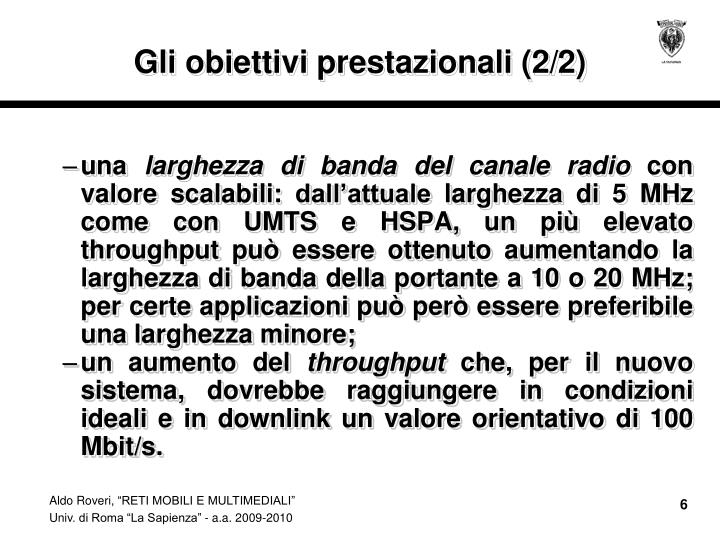Gli obiettivi prestazionali (2/