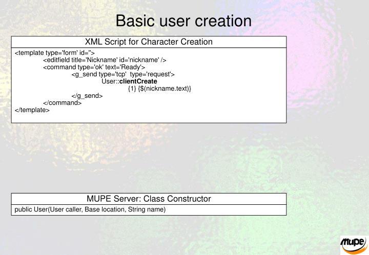 Basic user creation