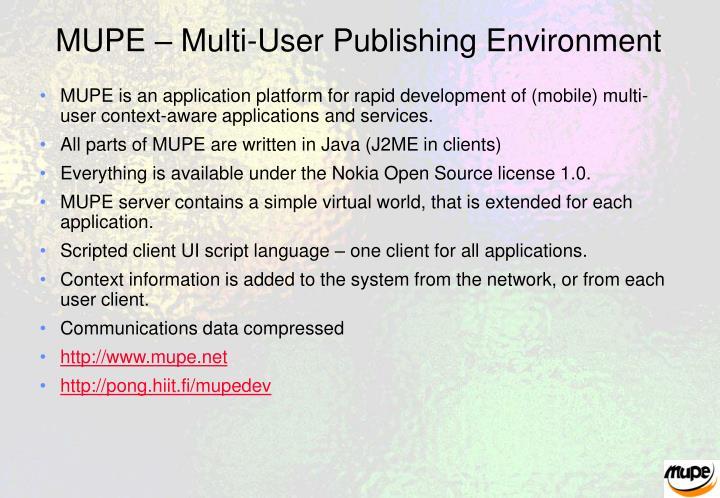 Mupe multi user publishing environment