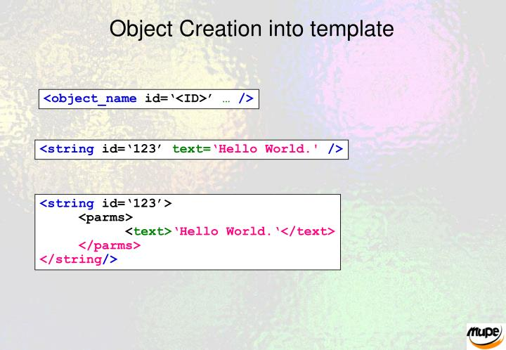 Object Creation into template