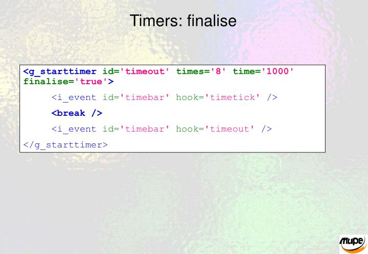 Timers: finalise