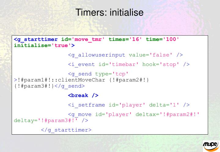 Timers: initialise