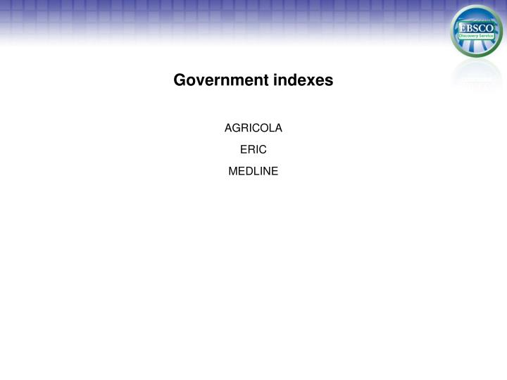 Government indexes