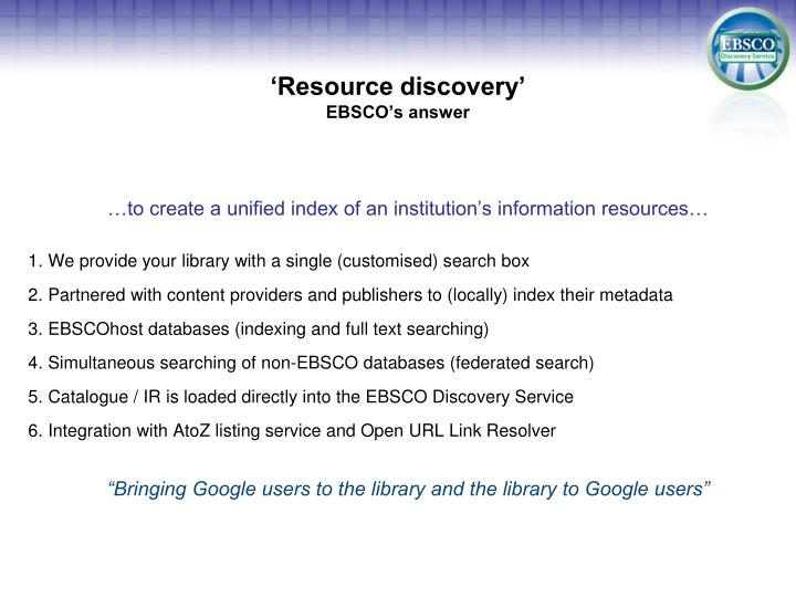 Resource discovery ebsco s answer