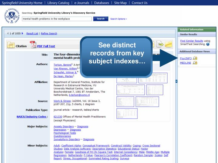 See distinct records from key subject indexes…