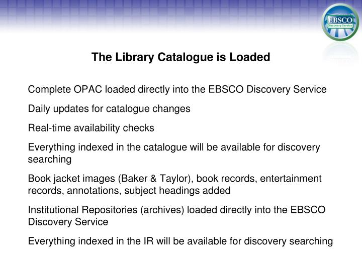 The Library Catalogue is Loaded