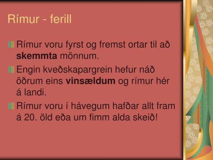 Rímur - ferill