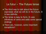 le futur the future tense