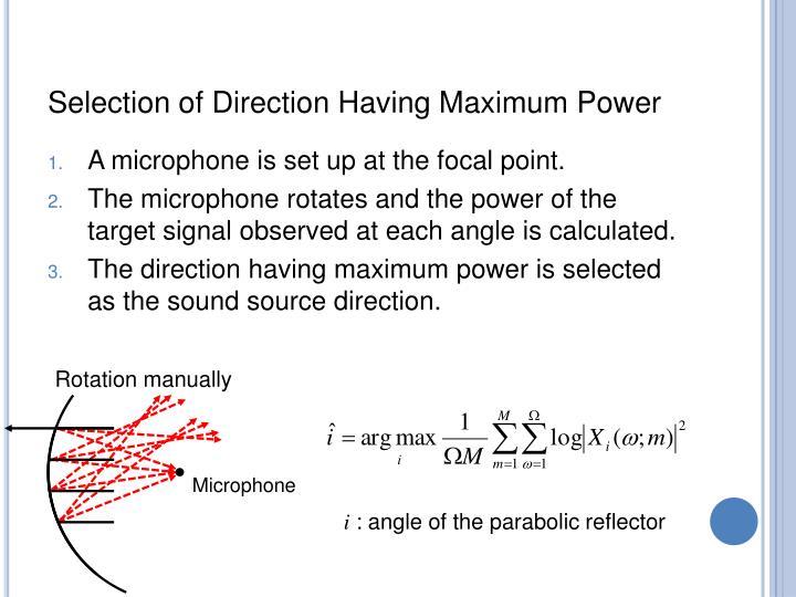 Selection of Direction Having Maximum Power