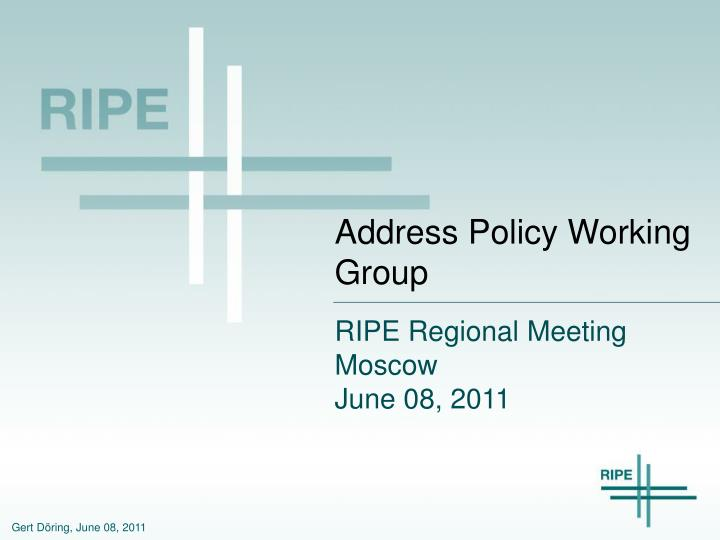address policy working group n.