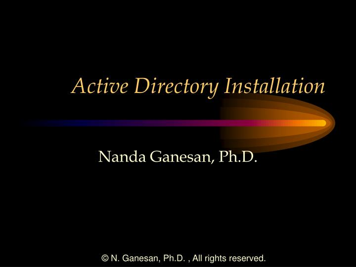 active directory installation n.