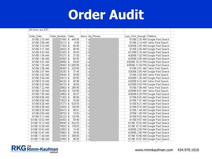 Order Audit