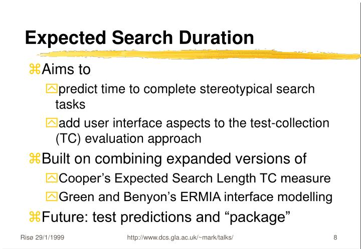 Expected Search Duration
