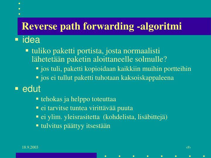 Reverse path forwarding -algoritmi