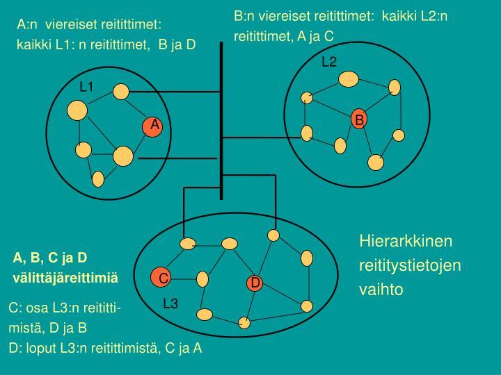 B:n viereiset reitittimet:  kaikki L2:n