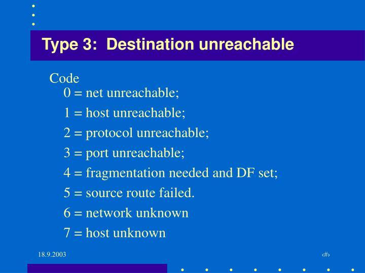 Type 3:  Destination unreachable