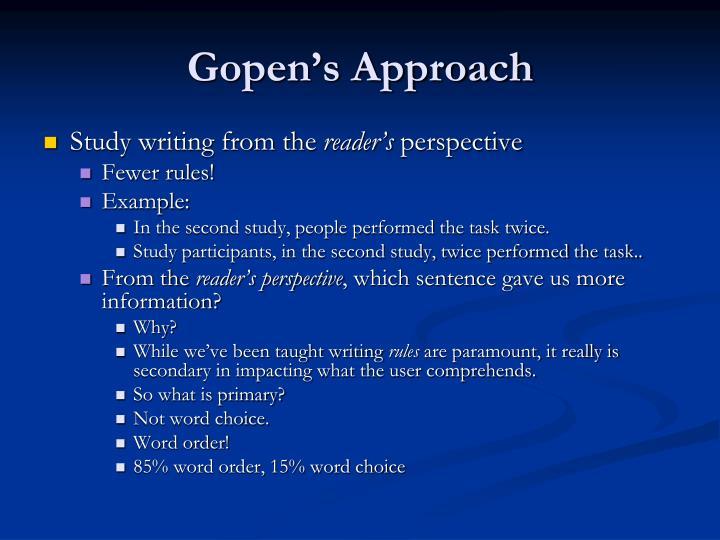 Gopen's Approach