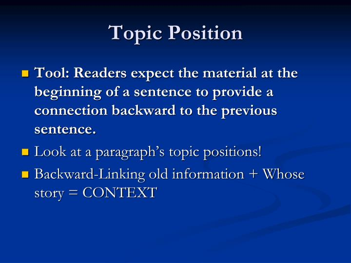 Topic Position