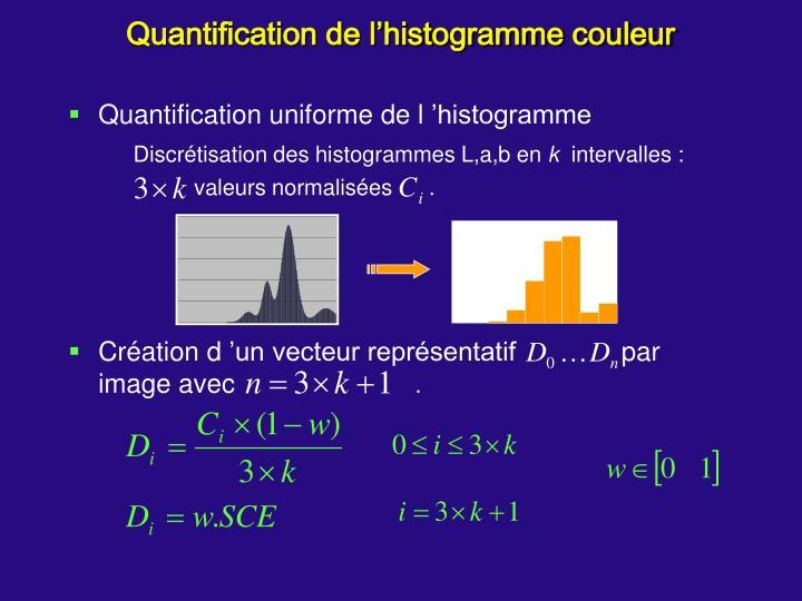 Quantification de l'histogramme couleur