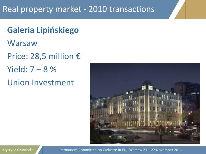 Real property market - 2010 transactions