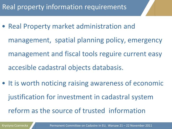 Real property information requirements