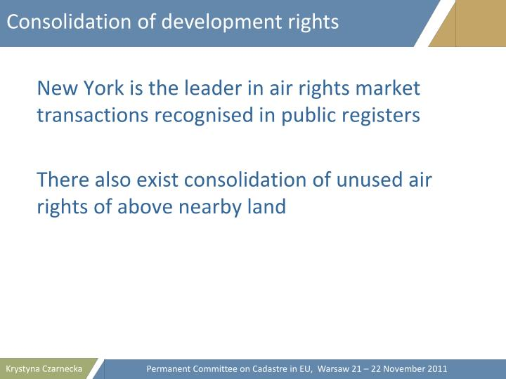 Consolidation of development rights
