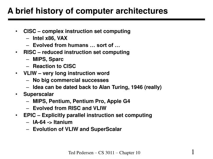 a brief history of computer databases Computers, or by employing parallel processing (cf data warehouse appliances) relational databases are typically used by a wide variety of business and technical staff.
